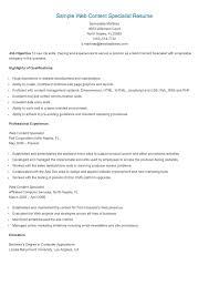 Sample Management Specialist Resume Sample Web Content Specialist Resume Resume Sample Resume