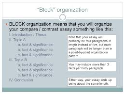 two different paths to the same goal organizing a compare  block organization block organization means that you will organize your compare contrast essay something like