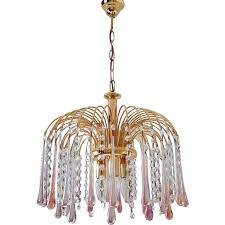 gold plated chandelier with murano glass teardrops by paolo venini 1970s