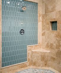 blue accent wall in shower