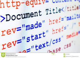 HTML Source Code Of Web Page With Title Stock Photo - Image of ...