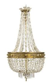 an antique french basket chandelier crystal and gilt metal