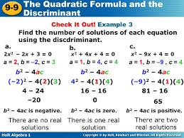 find the number of solutions of each equation using the discdriminant