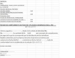 Modelo De Recibo Modelo De Recibo De Pago De Complemento De Utilidades Art 131 De La