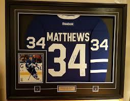auston matthews framed signed blue reebok premier jersey