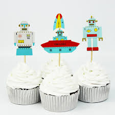 Cake Decorating Accessories Wholesale wholesale 100 PCS Outer Space Rocket astronaut Cupcake Topper Cake 6