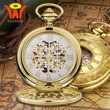 montre vintage mechanical mens pocket fob watch gold case antique skeleton necklace chain watch pocket clock pendant watches pocket watch fobs for