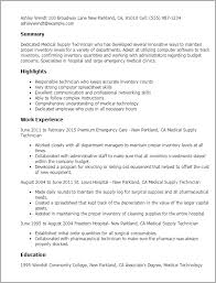 Medical Technology Example 1 Medical Supply Technician Resume Templates Try Them Now