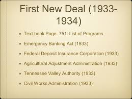 The federal deposit insurance corporation is one of two agencies that provide deposit insurance to depositors in u.s. Roosevelt S First New Deal Ppt Video Online Download
