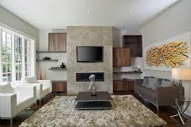 toronto modern walnut wall unit around fireplace