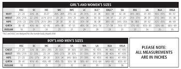 Inseam Size Chart Size Chart