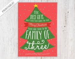 Whimsical Christmas Tree Pregnancy Announcement Red And Green Holiday Card Christmas Card New Baby