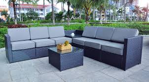 Mcombo black wicker patio sofa steel outdoor patio furniture sectional all weather light weight conversation