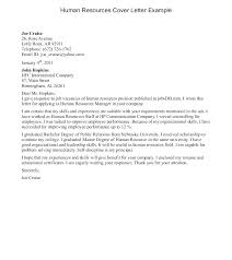 Sample Human Resources Cover Letter Cover Letter Example For A Human