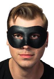 men s deluxe black leather look masquerade mask