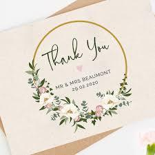 Floral Hoop Wedding Thank You Card