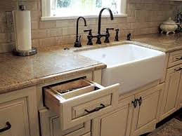 modern farmhouse sink w cream cabinets granite countertops