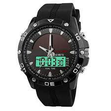 solar powered watches men amazon com solar watches for men jige solar powered quartz watch 2 display multifunctional sports watch black