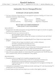 Auto Service Manager Resumes Sample Resume For Someone Seeking A Job As An Automotive