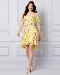 Unique one shoulder dresses of different colors ideas Chianti Floral Print Chiffon Cold Shoulder Dress Le Chateau Dresses All Dresses Women Dress Shop Le ChÂteau