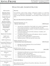 Examples Of Healthcare Resumes Resume Sample Directory