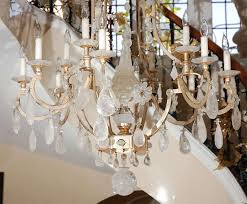 large 22 karat white gold rock crystal chandelier with very fine quality rock crystals and