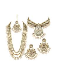 Gold Necklace And Haram Set Designs Alloy Golden Long Haram Traditional Gold Plated Necklace Set Combo