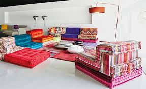 the mah jong modular sofa is upholstered in both missoni home and roche bobois fabrics here