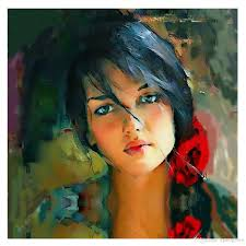 kgtech modern acrylic paintings handpainted girl with red fls beautiful girl arts on canvas figure painting no frame 20 40 acrylic paintings