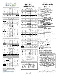 Year To Year Calendar District School Year Calendar 2018 2019 Somerville Public Schools