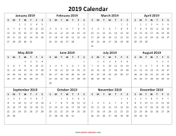 Year To Year Calendar Printable Calendar 2019 Year Yearly Calendar 2019 Printable