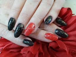 Eye Candy Nails & Training - Almond gel nails with black and red ...