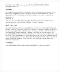 resume templates tax assistant tax resume sample