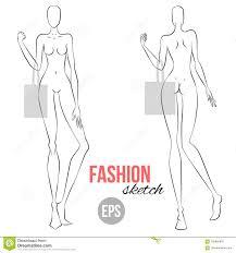 Vector шаблон модели девушки плана для делать эскиз к моды