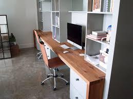 Reclaimed White Oak custom wood desk with DeVos Puzzle Joint along the  length. Finger Joint