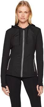 Blanc Noir Womens Hooded Windbreaker Jacket Black M Ksa