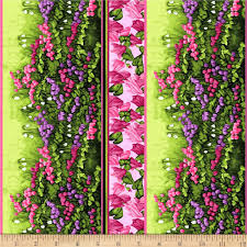 Fabric With Pictorial Design Clothworks Misty Meadow Pictorial Stripe Pink Fabric