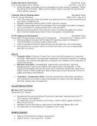 Quality Assurance Technician Quality Control Technician Resume ...