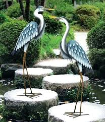 heron garden statue crane garden statues blue heron pair coastal metal garden statue crane bird yard