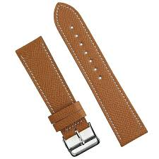 24mm tan textured calf leather watch band