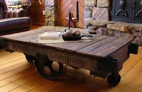 Furniture, Awesome Reclaimed Wood Industrial Rustic Coffee Table Cart On  Iron Wheels Idea: Rustic