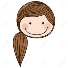 茶色のポニーテール髪ベクトル イラスト カラフル似顔絵正面顔女の子の
