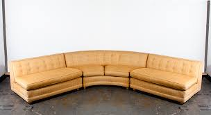 mid century modern sectional sofa couch gold rounded large vintage custom mcm danish curved orange 1960s