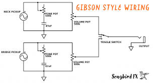 gibson style wiring scheme tone volume potentiometer pot capacitor cap toggle switch humbucker humbucking pickup les