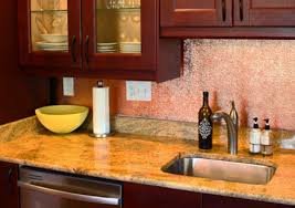 backsplash made from copper sheet from quickshipmetals com
