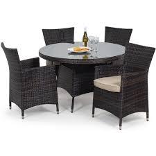maze rattan miami 4 seat round garden furniture set