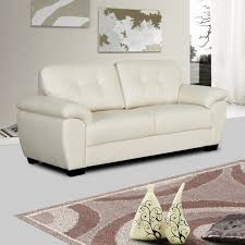 Stylish Sofas Ivory Cream Leather Sofa Collection With Tufted Seats And Cushions