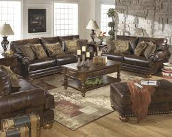 antique brown durablend 4pc sofa set by ashley