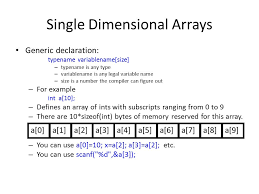 int size c arrays in c ppt video online download