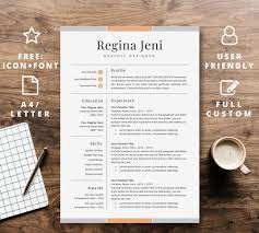 Good Font Modern Resume Resume Template Instant Download For Word Professional Cv Design Modern Creative A4 Letter Curriculum Vitae Cover Letter 2 Page